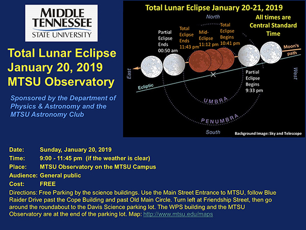MTSU opens observatory to public for Jan. 20 total lunar eclipse viewing